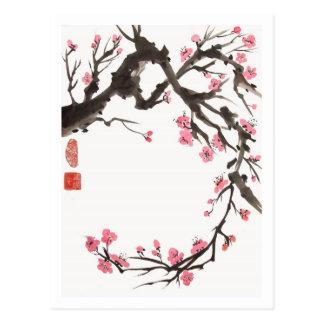 Pflaumen-Blüten-Kurven-Postkarte Postkarte