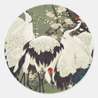 Pflaumen-Blüten und Kräne durch Ito Jakuchu Runder Aufkleber