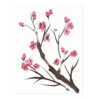Pflaumen-Blütesprig-Postkarte