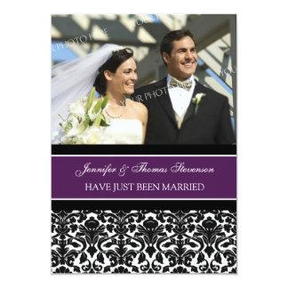Pflaumen-Damast-Foto-gerade verheiratete 12,7 X 17,8 Cm Einladungskarte