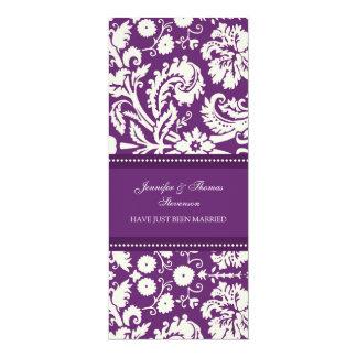 Pflaumen-Damast-gerade verheiratete 10,2 X 23,5 Cm Einladungskarte