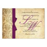Pflaumen-Damast-Vintage Bogen-Hochzeits-Einladung 12,7 X 17,8 Cm Einladungskarte
