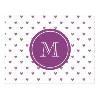 Pflaumen-Glitter-Herzen mit Monogramm Postkarte