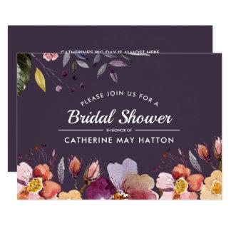 Pflaumen-Herbst-BlumenBrautparty-Einladung Karte