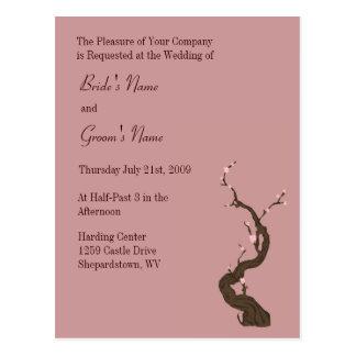Pflaumen-Kirschblüten-Einladung Postkarte