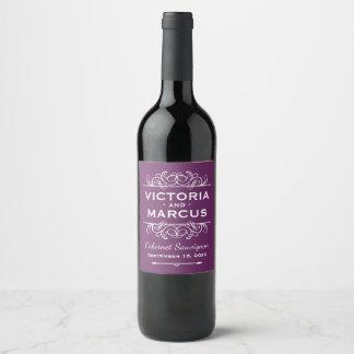 Pflaumen-lila Hochzeits-Wein-Flaschen-Bevorzugung Weinetikett
