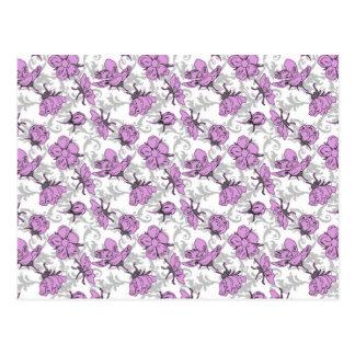 Pflaumen-lila und graues Vintages Blumenmuster Postkarte