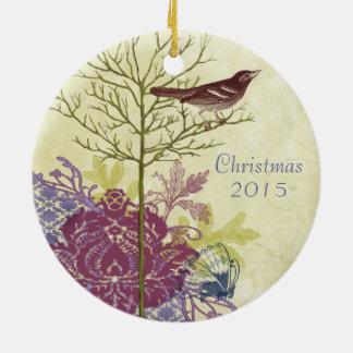 Pflaumen-verbindet Vintages Vogel-Weihnachten Keramik Ornament