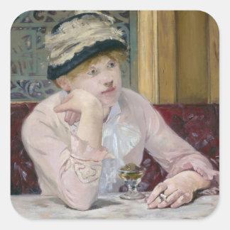 Pflaumen-Weinbrand durch Edouard Manet Quadratischer Aufkleber