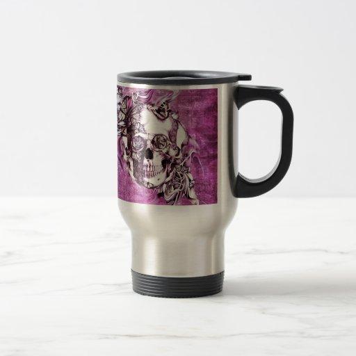 Pflaumenrauchschädel mit Schmetterlingen Kaffee Tassen