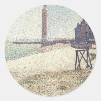 Pflegeheim und Leuchtturm, Honfleur durch Georges Runder Aufkleber
