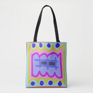 Pfosten-Zaun auf dem lila ~~ abstrakt und bunt Tasche
