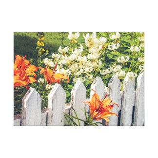 Pfosten-Zaun u. Blumen-II eingewickelte Leinwand