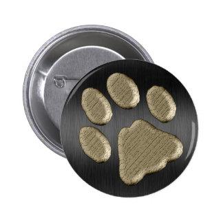 Pfötchen gold *-* runder button 5,1 cm