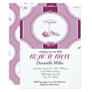 PH&D Strand-Gammler-Babyparty Toile 16,5 X 22,2 Cm Einladungskarte