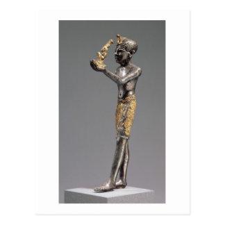 Pharao, das ein Angebot vor der Göttin Maat macht Postkarte