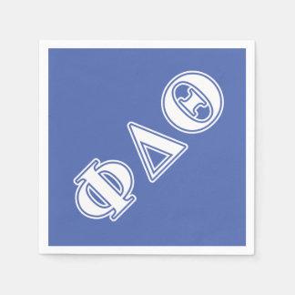 Phi-Deltatheta-Weiß-und Königsblau-Buchstaben Papierserviette