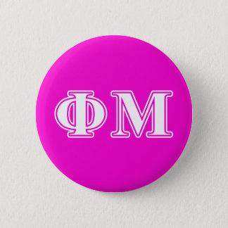 Phi-MU-Weiß-Buchstaben Runder Button 5,1 Cm