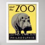 Philadelphia PA-Zoo-Flusspferd WPA 1936 Plakatdrucke
