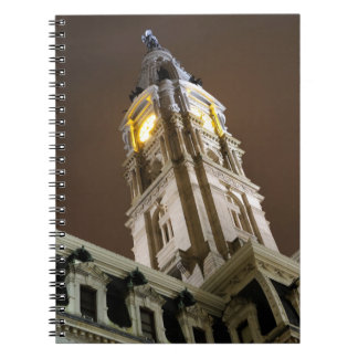 Philadelphia-Rathaus-Glockenturm nachts Notizblock
