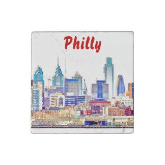 Philadelphia-Skyline-Farbskizze-Stein-Magnet Stein-Magnet