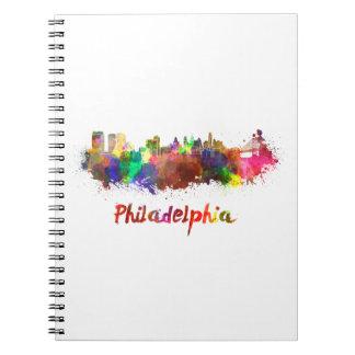 Philadelphia skyline im Watercolor Spiral Notizblock