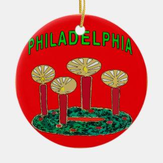 Philadelphia-Weihnachtsbaum Rundes Keramik Ornament