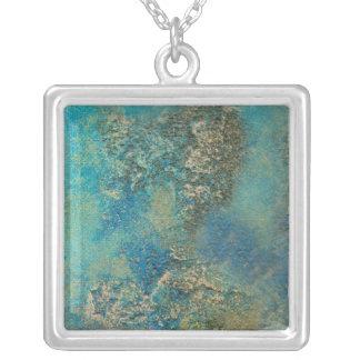 Philip-Bogenschütze-Ozean-Blau-und Goldabstrakte Halskette Mit Quadratischem Anhänger