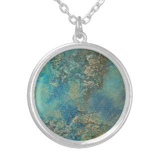 Philip-Bogenschütze-Ozean-Blau-und Goldabstrakte Halskette Mit Rundem Anhänger