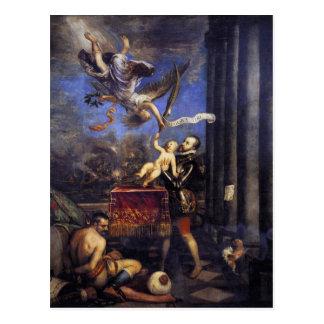 Philip II anbietendon Fernando zum Sieg Titian Postkarte