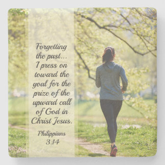 Philippians-3:13 - 14 die Vergangenheit vergessend Steinuntersetzer