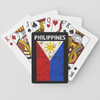 Philippinen-Flagge - beunruhigte Spielkarten
