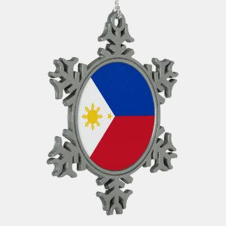 Philippinen-Flagge Schneeflocken Zinn-Ornament