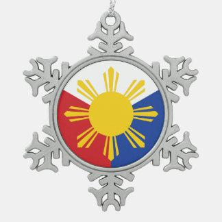 Philippinen-Flaggen-Elemente Schneeflocken Zinn-Ornament