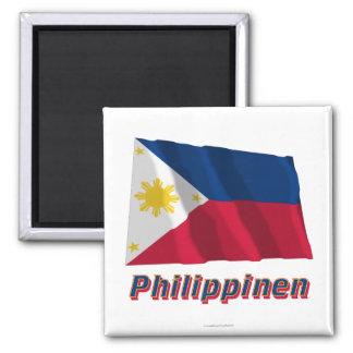 Philippinen Fliegende Flagge MIT Namen Quadratischer Magnet
