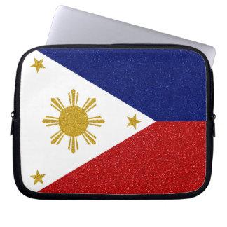 Philippinen-Glitter-Flagge Laptopschutzhülle