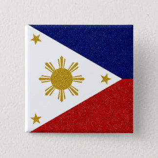 Philippinen-Glitter-Flagge Quadratischer Button 5,1 Cm