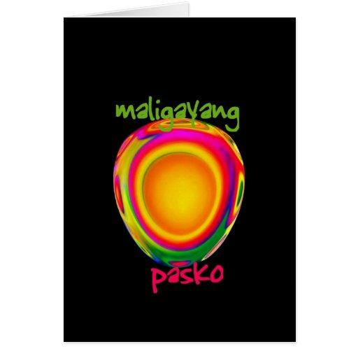 philippinische frohe weihnachten maligayang gru karte zazzle