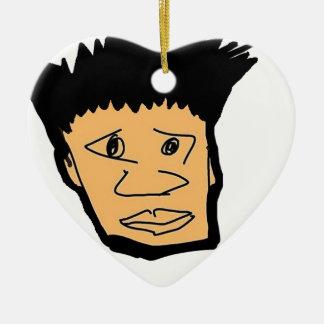 philippinische Jungen-Cartoon-Gesichtssammlung Keramik Herz-Ornament