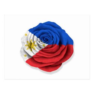 Philippinische Rosen-Flagge auf Schwarzem auf Weiß Postkarte