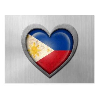 Philippinischer Herz-Flaggen-Edelstahl-Effekt Postkarte