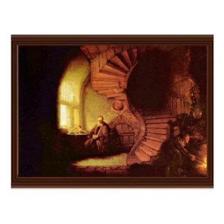 Philosoph in der Meditation. Durch Rembrandt Van Postkarte