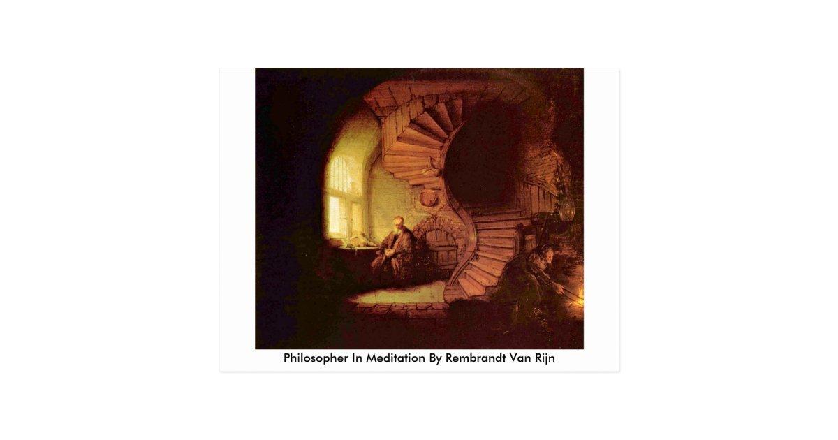 philosoph in der meditation durch rembrandt van postkarte zazzle. Black Bedroom Furniture Sets. Home Design Ideas