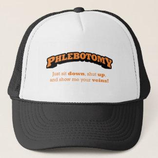 Phlebotomy/sitzen sich hin truckerkappe