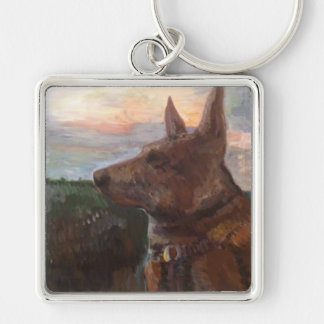 """""""Phoebe Hund im Sonnenuntergang"""" Malerei auf Schlüsselanhänger"""