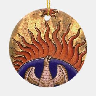 Phoenix, das von der Asche steigt Rundes Keramik Ornament
