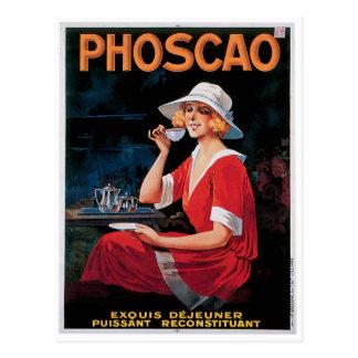 Phoscao Vintage Schokoladen-Getränk-Anzeigen-Kunst Postkarte