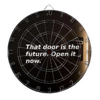 Phrasen: Diese Tür ist die Zukunft. Öffnen Sie sie Dartscheibe