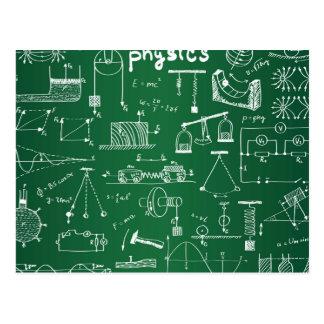 Physik-Tafel-Muster Postkarte