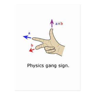 Physikgruppenzeichen Querprodukt der rechten Regel Postkarten